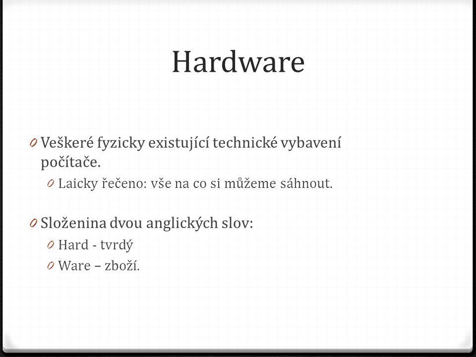 Hardware 0 Veškeré fyzicky existující technické vybavení počítače. 0 Laicky řečeno: vše na co si můžeme sáhnout. 0 Složenina dvou anglických slov: 0 H