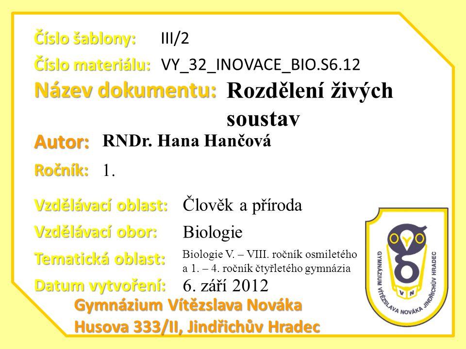 Název dokumentu: Ročník: Autor: Gymnázium Vítězslava Nováka Husova 333/II, Jindřichův Hradec Vzdělávací oblast: Vzdělávací obor: Datum vytvoření: VY_3
