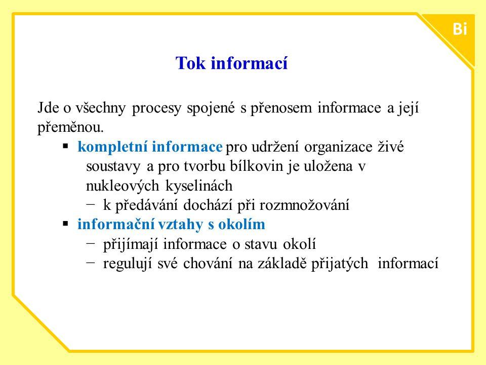 ttt77 Bi Tok informací Jde o všechny procesy spojené s přenosem informace a její přeměnou.  kompletní informace pro udržení organizace živé soustavy