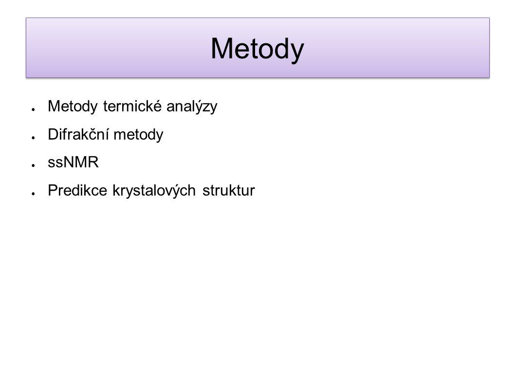 ● Metody termické analýzy ● Difrakční metody ● ssNMR ● Predikce krystalových struktur