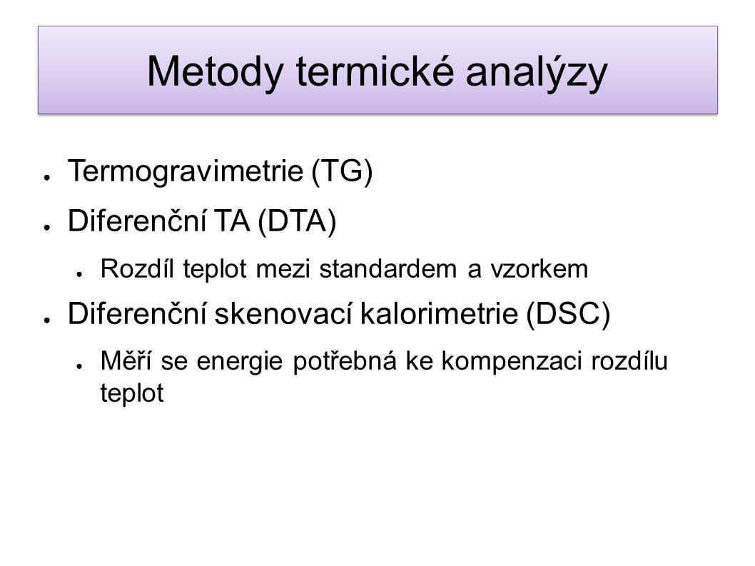 ● Termogravimetrie (TG) ● Diferenční TA (DTA) ● Rozdíl teplot mezi standardem a vzorkem ● Diferenční skenovací kalorimetrie (DSC) ● Měří se energie po