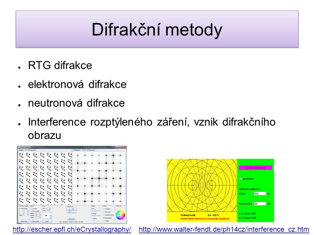 ● RTG difrakce ● elektronová difrakce ● neutronová difrakce ● Interference rozptýleného záření, vznik difrakčního obrazu http://escher.epfl.ch/eCrysta
