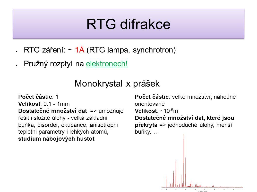 ● RTG záření: ~ 1Å (RTG lampa, synchrotron) ● Pružný rozptyl na elektronech! Monokrystal x prášek Počet částic: 1 Velikost: 0.1 - 1mm Dostatečné množs
