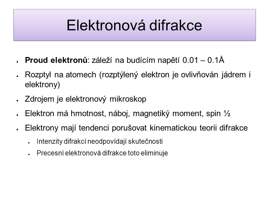● Proud elektronů: záleží na budícím napětí 0.01 – 0.1Å ● Rozptyl na atomech (rozptýlený elektron je ovlivňován jádrem i elektrony) ● Zdrojem je elekt