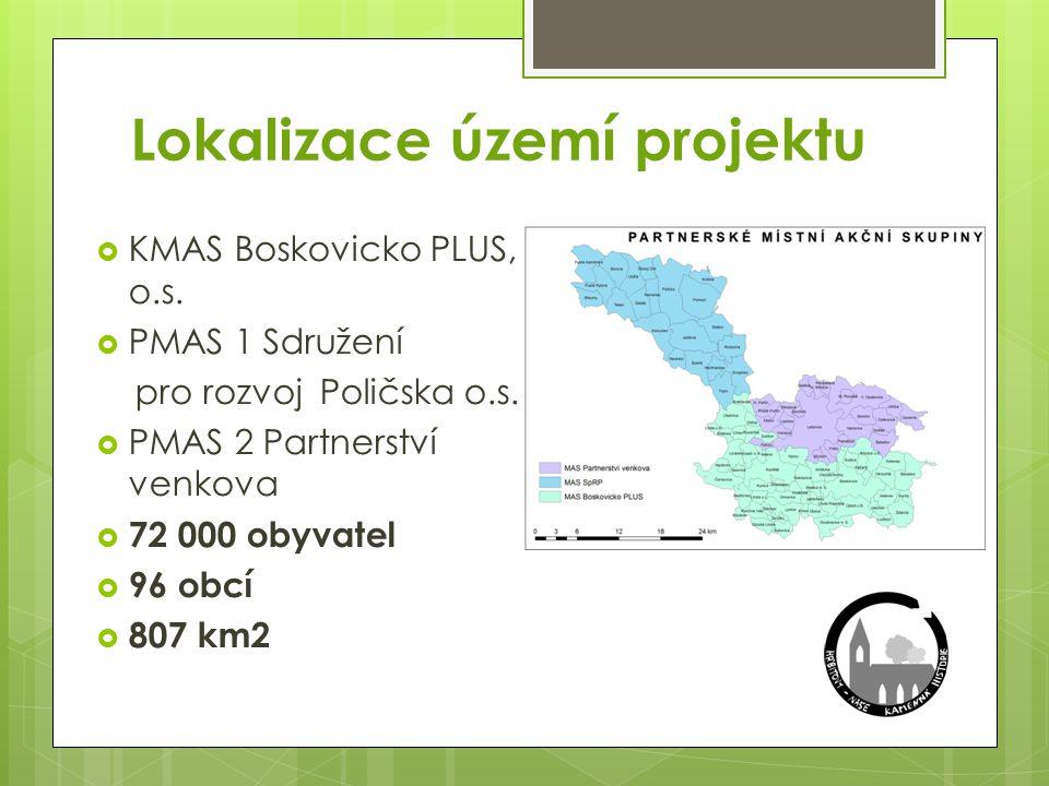Lokalizace území projektu  KMAS Boskovicko PLUS, o.s.  PMAS 1 Sdružení pro rozvoj Poličska o.s.  PMAS 2 Partnerství venkova  72 000 obyvatel  96