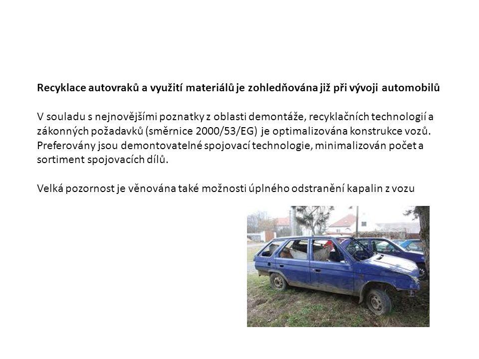 Recyklace autovraků a využití materiálů je zohledňována již při vývoji automobilů V souladu s nejnovějšími poznatky z oblasti demontáže, recyklačních