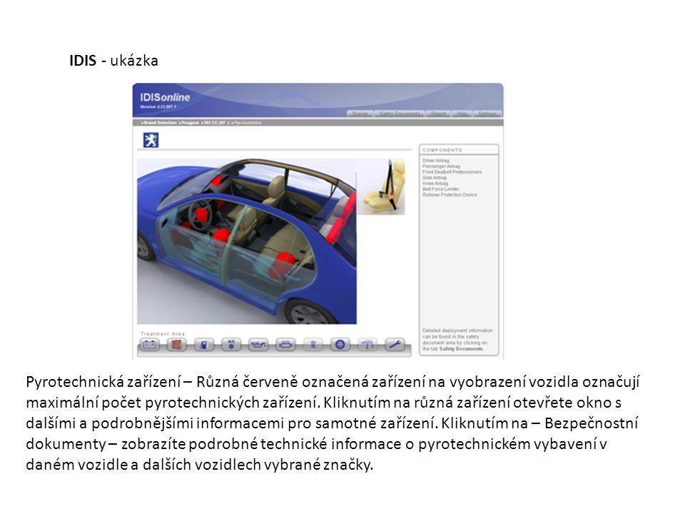 Pyrotechnická zařízení – Různá červeně označená zařízení na vyobrazení vozidla označují maximální počet pyrotechnických zařízení. Kliknutím na různá z