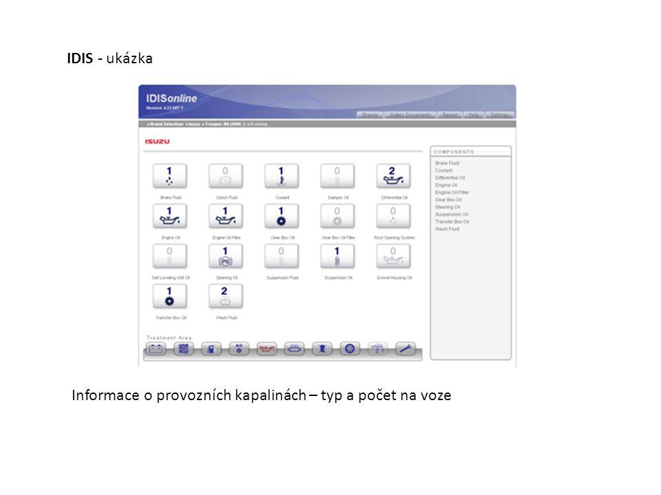 Informace o provozních kapalinách – typ a počet na voze IDIS - ukázka