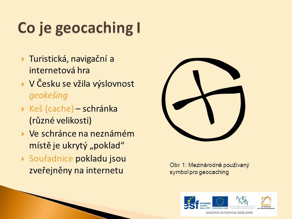  Turistická, navigační a internetová hra  V Česku se vžila výslovnost geokešing  Keš (cache) – schránka (různé velikosti)  Ve schránce na neznámém
