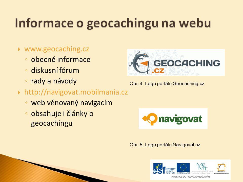  www.geocaching.cz ◦ obecné informace ◦ diskusní fórum ◦ rady a návody  http://navigovat.mobilmania.cz ◦ web věnovaný navigacím ◦ obsahuje i články