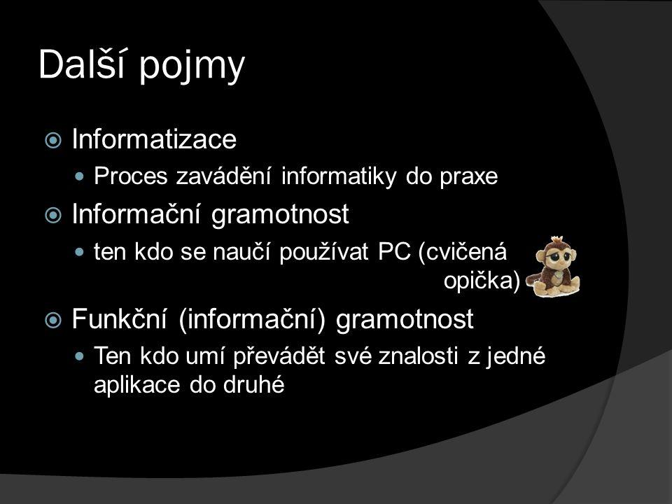 Další pojmy  Informatizace Proces zavádění informatiky do praxe  Informační gramotnost ten kdo se naučí používat PC (cvičená opička)  Funkční (informační) gramotnost Ten kdo umí převádět své znalosti z jedné aplikace do druhé