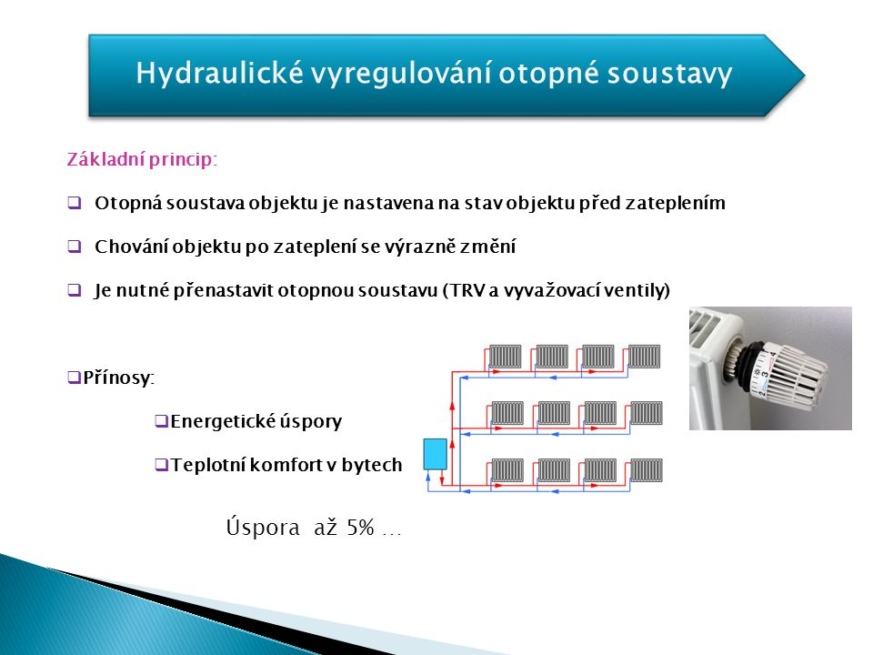 Hydraulické vyregulování otopné soustavy Základní princip:  Otopná soustava objektu je nastavena na stav objektu před zateplením  Chování objektu po
