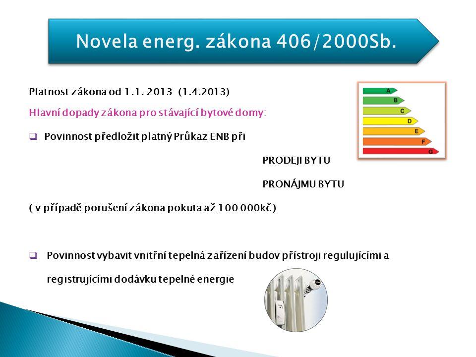 Novela energ. zákona 406/2000Sb. Platnost zákona od 1.1. 2013 (1.4.2013) Hlavní dopady zákona pro stávající bytové domy:  Povinnost předložit platný