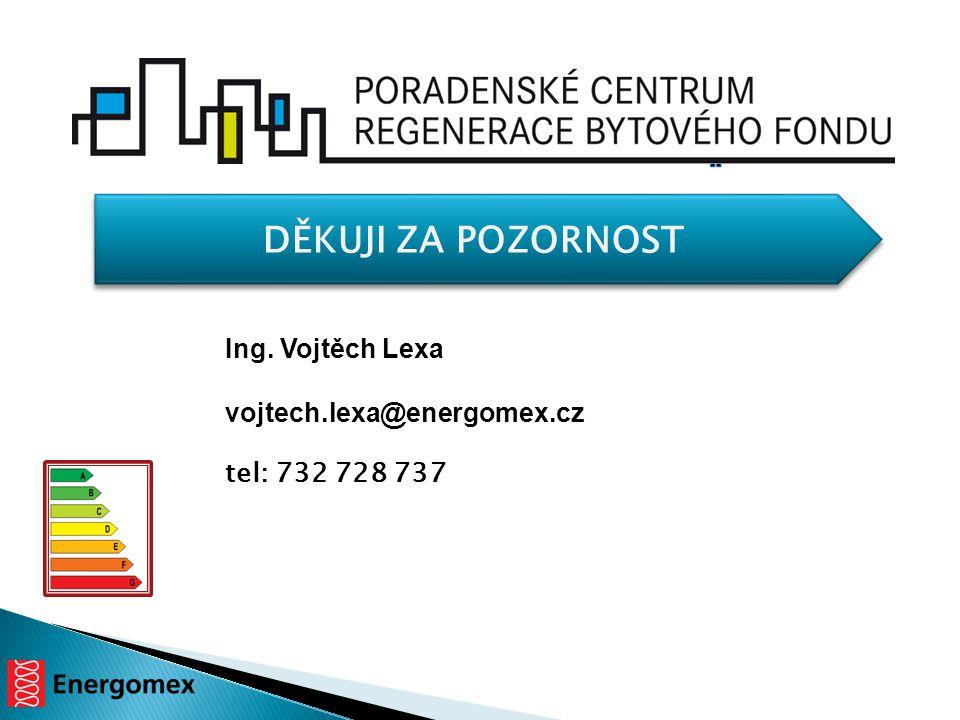 DĚKUJI ZA POZORNOST Ing. Vojtěch Lexa vojtech.lexa@energomex.cz tel: 732 728 737