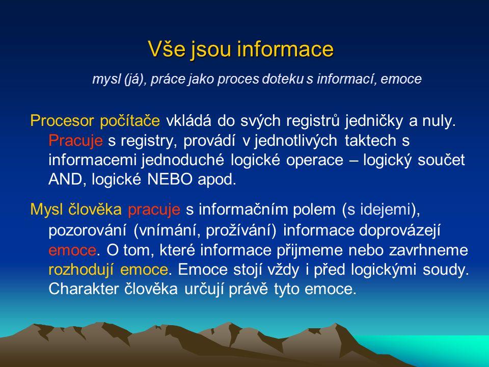 Vše jsou informace mysl (já), práce jako proces doteku s informací, emoce Procesor počítače vkládá do svých registrů jedničky a nuly.