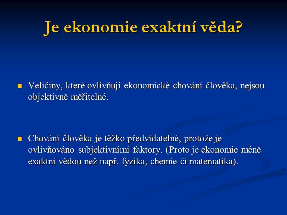 Je ekonomie exaktní věda? Veličiny, které ovlivňují ekonomické chování člověka, nejsou objektivně měřitelné. Veličiny, které ovlivňují ekonomické chov