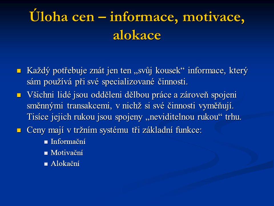 """Úloha cen – informace, motivace, alokace Každý potřebuje znát jen ten """"svůj kousek"""" informace, který sám používá při své specializované činnosti. Každ"""