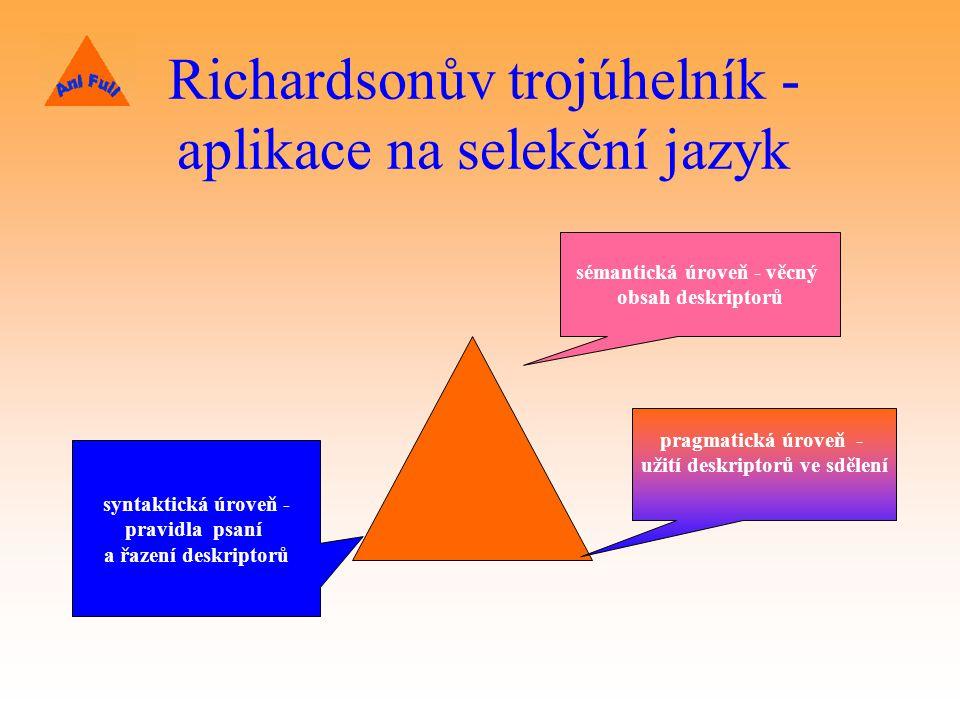 Richardsonův trojúhelník - aplikace na selekční jazyk syntaktická úroveň - pravidla psaní a řazení deskriptorů sémantická úroveň - věcný obsah deskriptorů pragmatická úroveň - užití deskriptorů ve sdělení