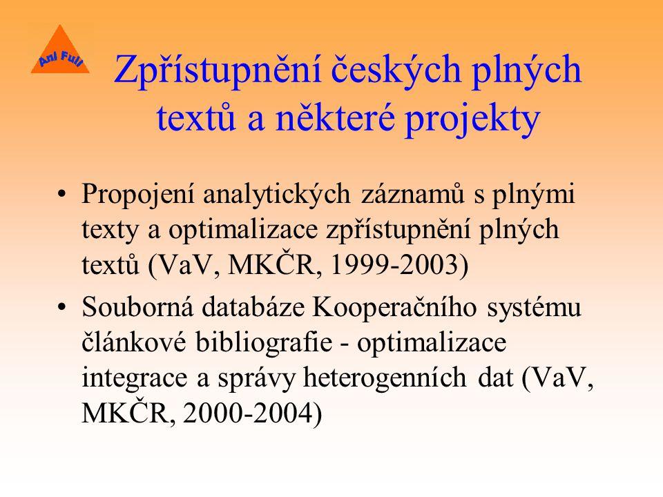 Zpřístupnění českých plných textů a některé projekty Propojení analytických záznamů s plnými texty a optimalizace zpřístupnění plných textů (VaV, MKČR, 1999-2003) Souborná databáze Kooperačního systému článkové bibliografie - optimalizace integrace a správy heterogenních dat (VaV, MKČR, 2000-2004)