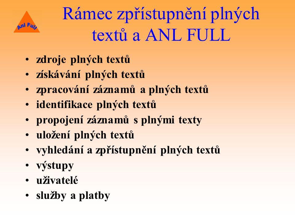 Rámec zpřístupnění plných textů a ANL FULL zdroje plných textů získávání plných textů zpracování záznamů a plných textů identifikace plných textů propojení záznamů s plnými texty uložení plných textů vyhledání a zpřístupnění plných textů výstupy uživatelé služby a platby
