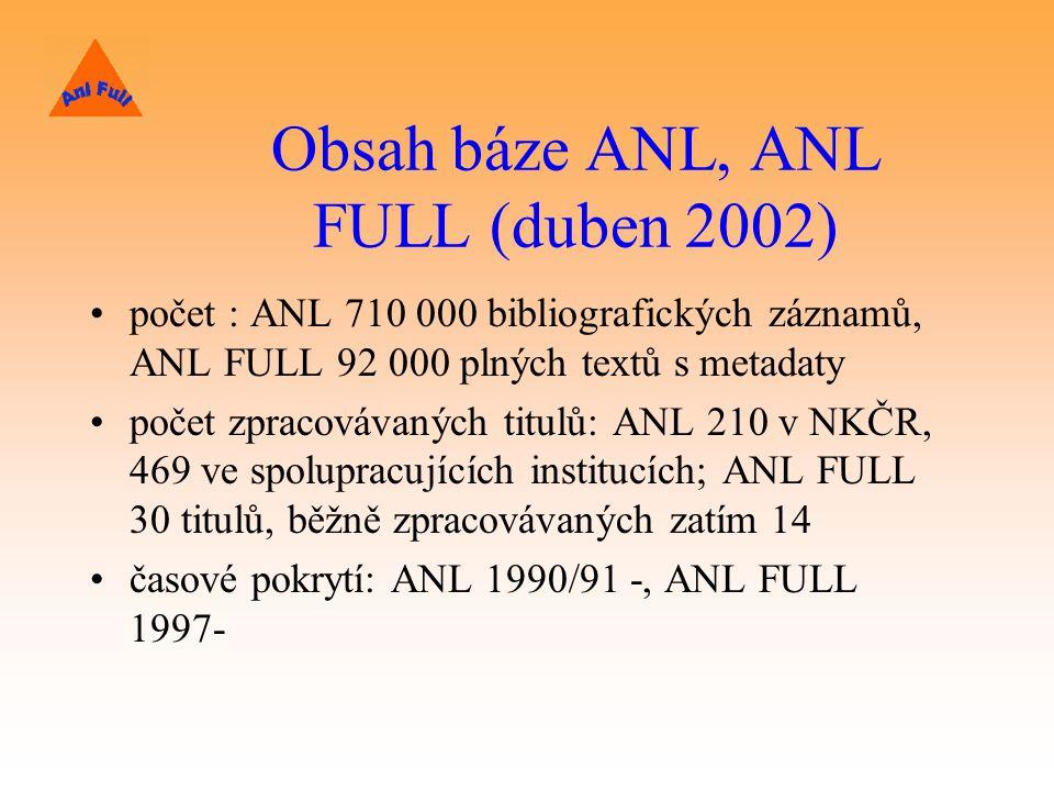 Obsah báze ANL, ANL FULL (duben 2002) počet : ANL 710 000 bibliografických záznamů, ANL FULL 92 000 plných textů s metadaty počet zpracovávaných titulů: ANL 210 v NKČR, 469 ve spolupracujících institucích; ANL FULL 30 titulů, běžně zpracovávaných zatím 14 časové pokrytí: ANL 1990/91 -, ANL FULL 1997-