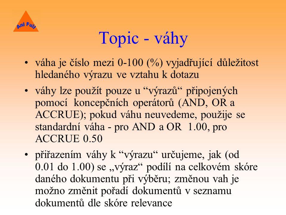 """Topic - váhy váha je číslo mezi 0-100 (%) vyjadřující důležitost hledaného výrazu ve vztahu k dotazu váhy lze použít pouze u výrazů připojených pomocí koncepčních operátorů (AND, OR a ACCRUE); pokud váhu neuvedeme, použije se standardní váha - pro AND a OR 1.00, pro ACCRUE 0.50 přiřazením váhy k výrazu určujeme, jak (od 0.01 do 1.00) se """"výraz podílí na celkovém skóre daného dokumentu při výběru; změnou vah je možno změnit pořadí dokumentů v seznamu dokumentů dle skóre relevance"""