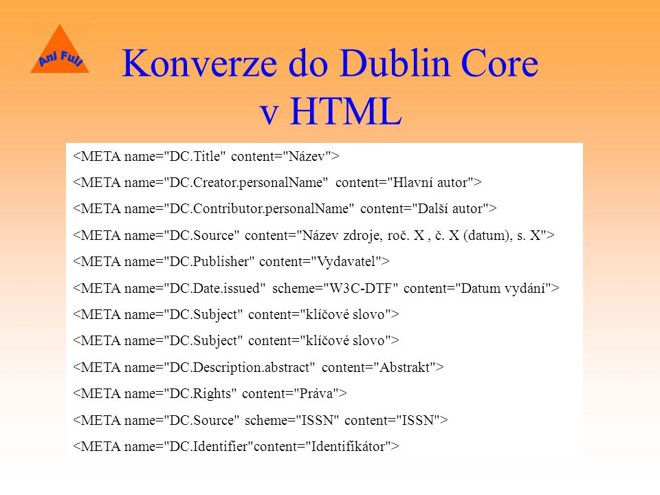 Konverze do Dublin Core v HTML