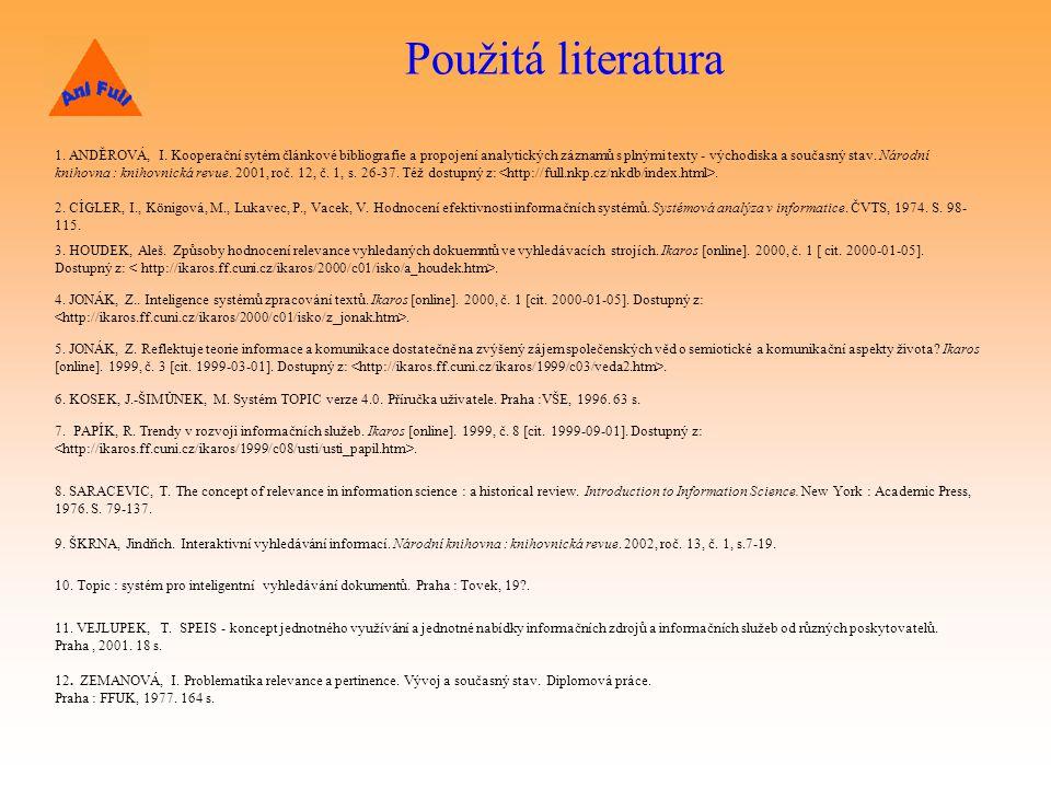 Použitá literatura 1.ANDĚROVÁ, I.