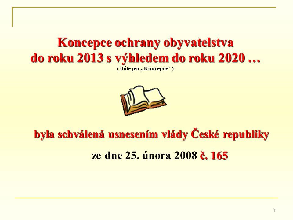 """1 Koncepce ochrany obyvatelstva do roku 2013 s výhledem do roku 2020 … ( dále jen """"Koncepce"""" ) byla schválená usnesením vlády České republiky č. 165 z"""