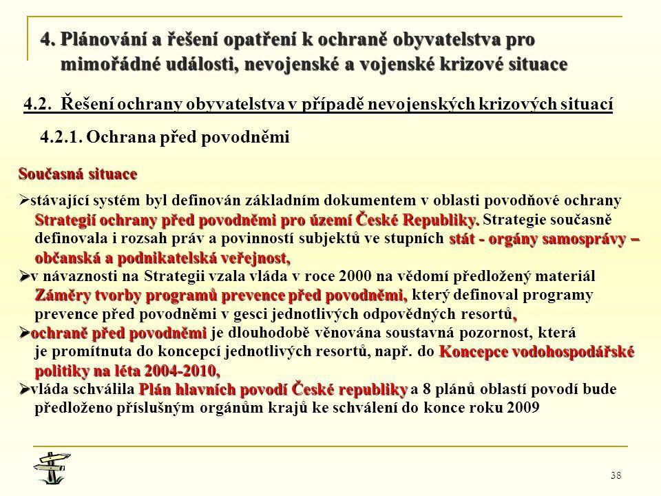 38 Současná situace   stávající systém byl definován základním dokumentem v oblasti povodňové ochrany Strategií ochrany před povodněmi pro území Čes