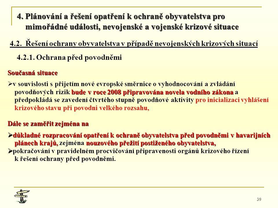 39 Současná situace   v souvislosti s přijetím nové evropské směrnice o vyhodnocování a zvládání bude v roce 2008připravována novela vodního zákona