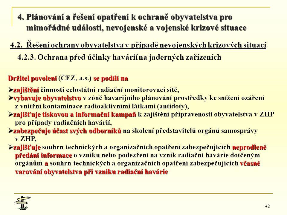 42 Držitel povolení se podílí na Držitel povolení (ČEZ, a.s.) se podílí na  zajištění,  zajištění činnosti celostátní radiační monitorovací sítě, 