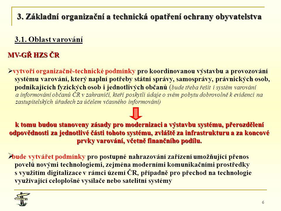 6 MV-GŘ HZS ČR   vytvoří organizačně-technické podmínky pro koordinovanou výstavbu a provozování systému varování, který naplní potřeby státní správ