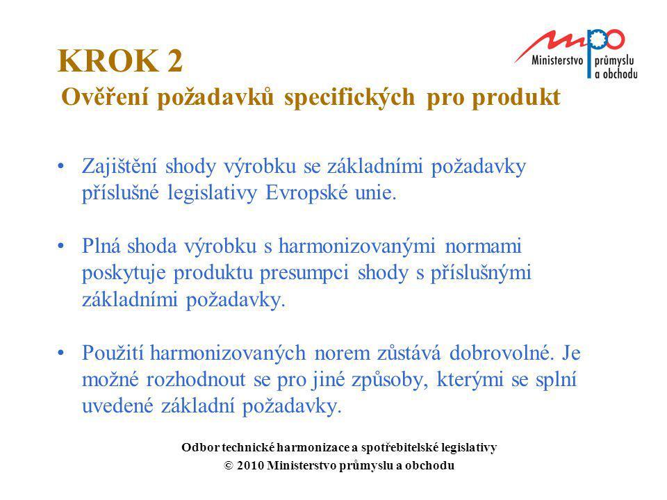 KROK 2 Ověření požadavků specifických pro produkt Zajištění shody výrobku se základními požadavky příslušné legislativy Evropské unie. Plná shoda výro