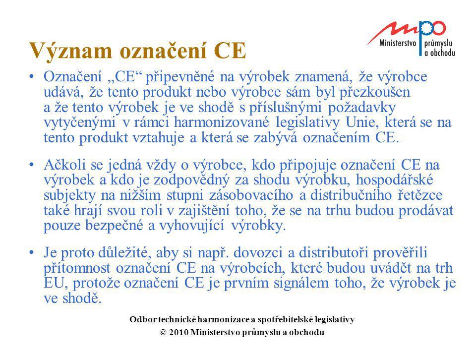 """Význam označení CE Označení """"CE"""" připevněné na výrobek znamená, že výrobce udává, že tento produkt nebo výrobce sám byl přezkoušen a že tento výrobek"""