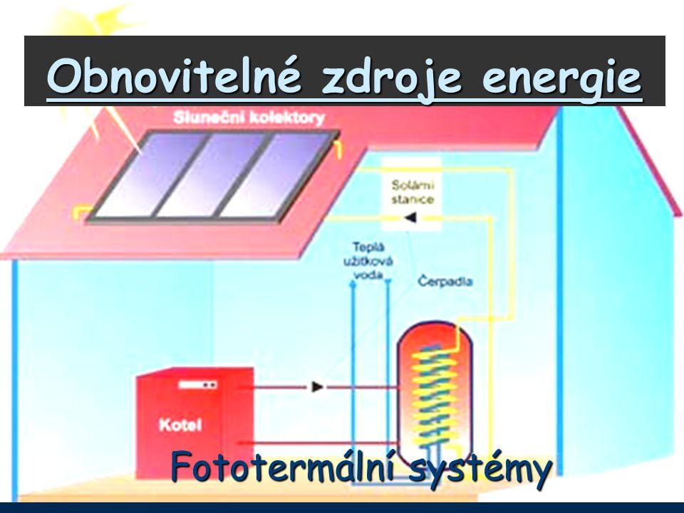Obecné informace *V našich podmínkách je výhodné využití solární energie pro výrobu tepla a ohřevu teplé užitkové vody *Optimální je komplexní systém, který umožňuje celoroční využití, například:zimatopení, teplá voda létoteplá voda, ohřev vody v bazénu *Princip – přeměna viditelného záření na teplo, čímž by bylo možné získat až 90% tepla z dopadajícího záření *Podmínkou efektivního využití je komplexní řešení – tepelná izolace budovy, optimální návrh pro velikosti zásobníku, optimální volba rozsahu využití (TUV, topení, bazén, …)