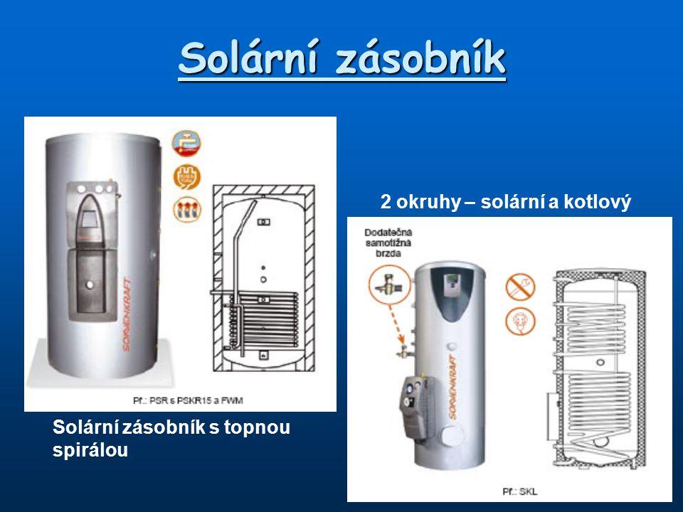 2 okruhy – solární a kotlový Solární zásobník s topnou spirálou Solární zásobník