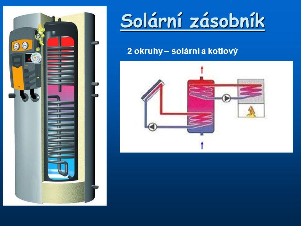 2 okruhy – solární a kotlový Solární zásobník