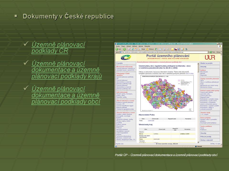  Mezinárodní dokumenty Územně plánovací nástroje na celostátní úrovni v zemích EU Územně plánovací nástroje na celostátní úrovni v zemích EU Portál Ú