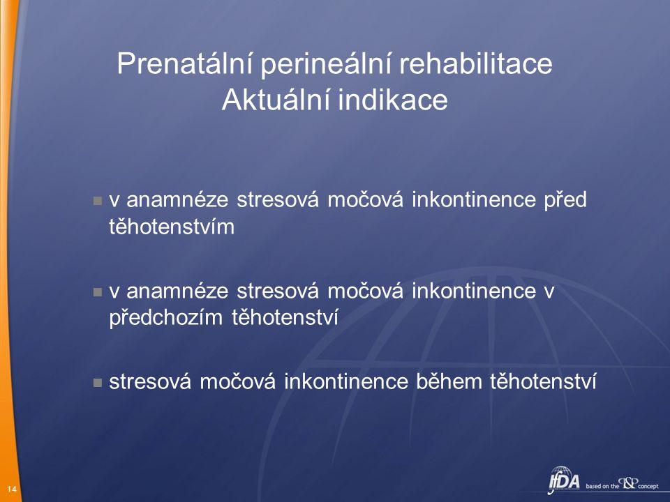 14 Prenatální perineální rehabilitace Aktuální indikace v anamnéze stresová močová inkontinence před těhotenstvím v anamnéze stresová močová inkontine