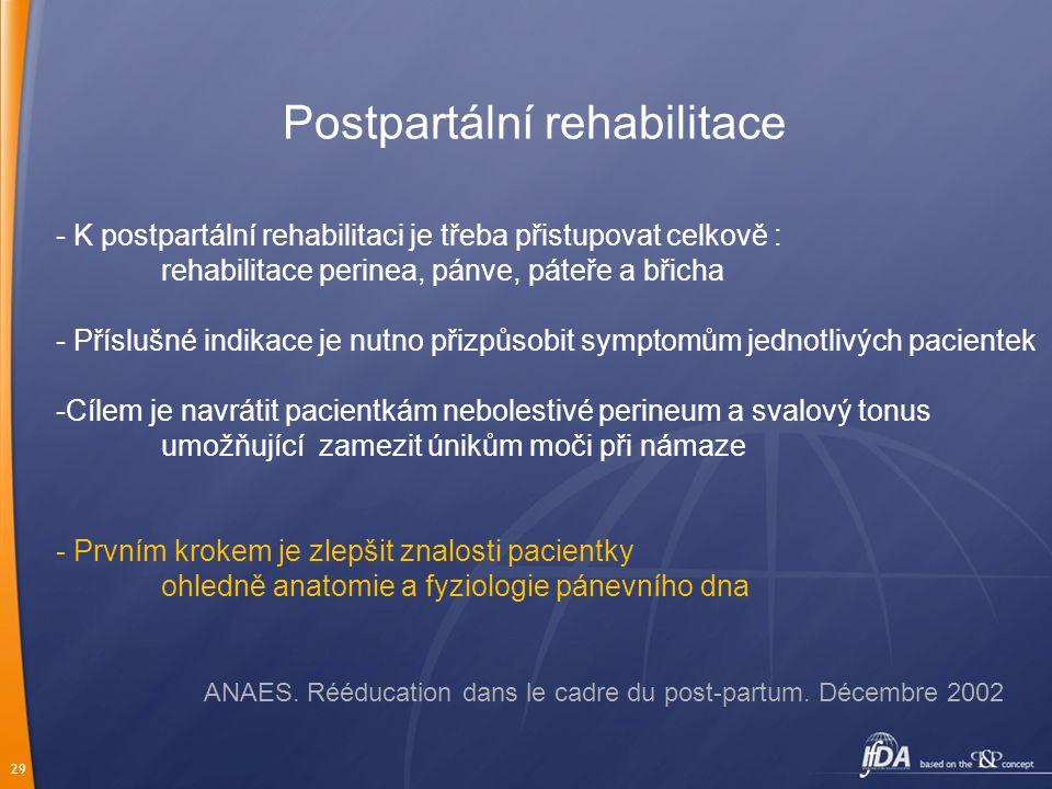 29 Postpartální rehabilitace - K postpartální rehabilitaci je třeba přistupovat celkově : rehabilitace perinea, pánve, páteře a břicha - Příslušné ind