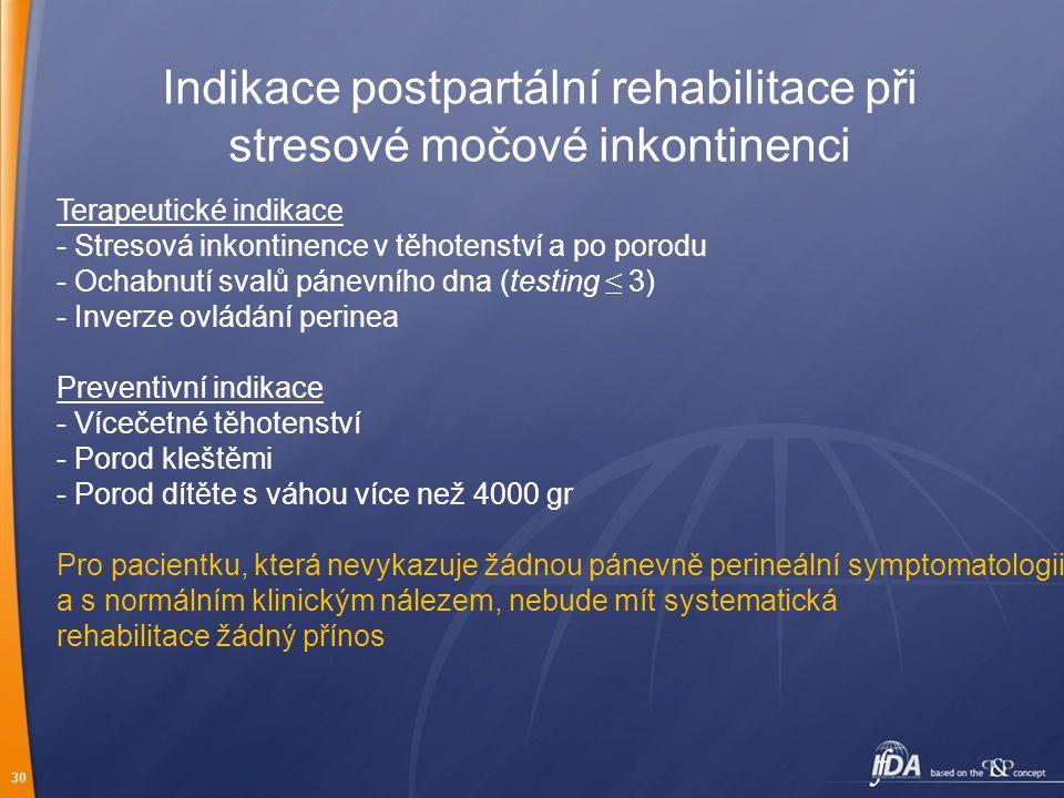 30 Indikace postpartální rehabilitace při stresové močové inkontinenci Terapeutické indikace - Stresová inkontinence v těhotenství a po porodu - Ochab