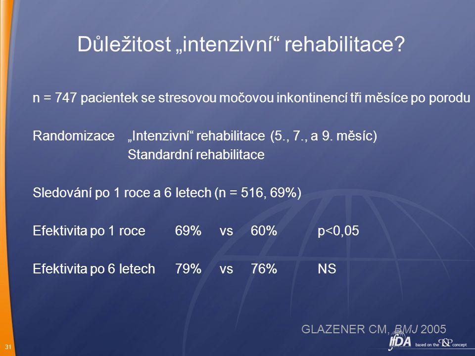"""31 Důležitost """"intenzivní"""" rehabilitace? n = 747 pacientek se stresovou močovou inkontinencí tři měsíce po porodu Randomizace""""Intenzivní"""" rehabilitace"""