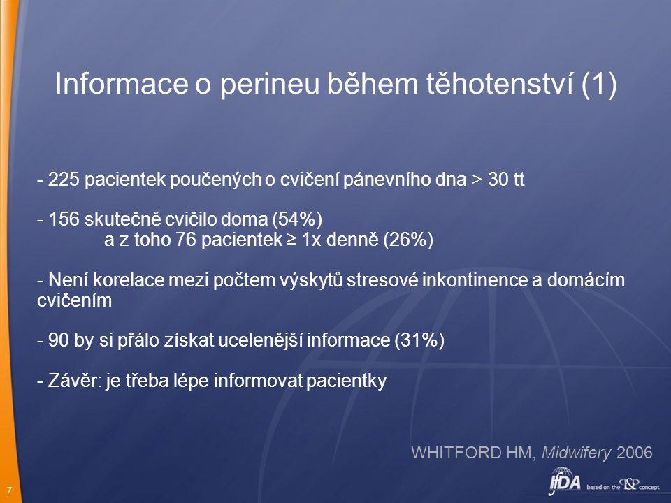 7 Informace o perineu během těhotenství (1) - 225 pacientek poučených o cvičení pánevního dna > 30 tt - 156 skutečně cvičilo doma (54%) a z toho 76 pa
