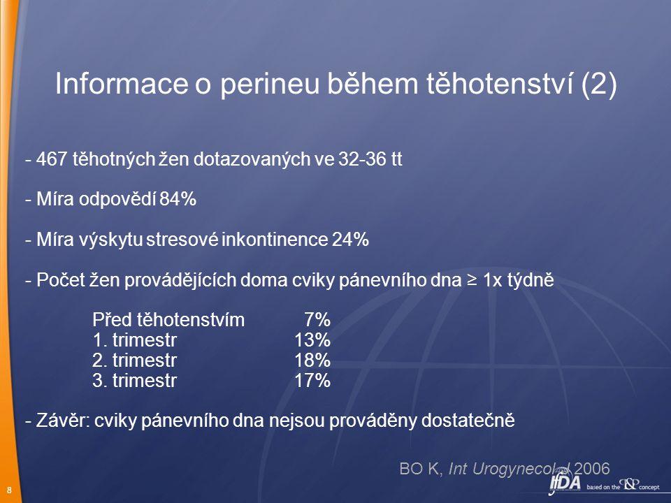 8 Informace o perineu během těhotenství (2) - 467 těhotných žen dotazovaných ve 32-36 tt - Míra odpovědí84% - Míra výskytu stresové inkontinence 24% -