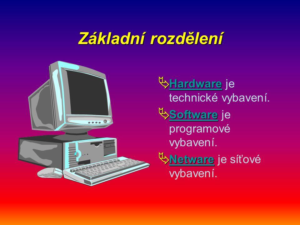 Základní rozdělení  Hardware  Hardware je technické vybavení. Hardware  Software  Software je programové vybavení. Software  Netware  Netware je