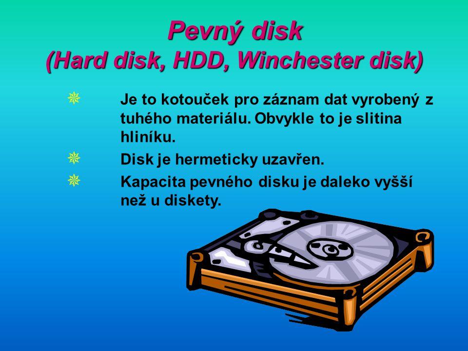 Pevný disk (Hard disk, HDD, Winchester disk)  Je to kotouček pro záznam dat vyrobený z tuhého materiálu. Obvykle to je slitina hliníku.  Disk je her