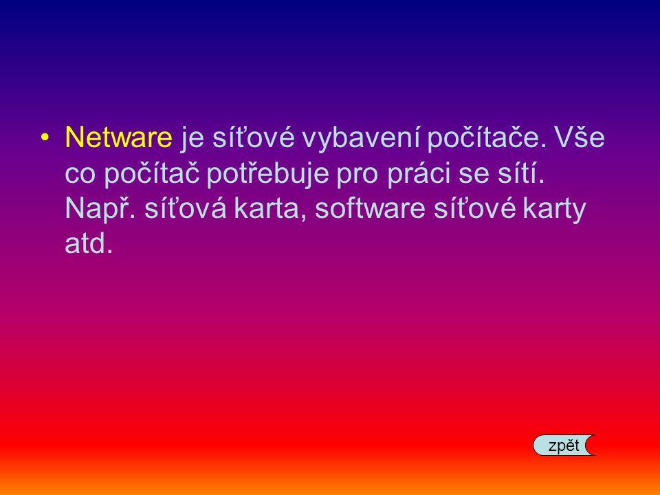 Netware je síťové vybavení počítače. Vše co počítač potřebuje pro práci se sítí. Např. síťová karta, software síťové karty atd. zpět