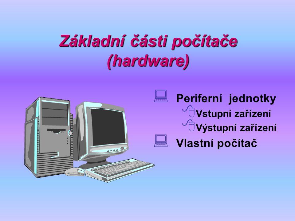 Základní části počítače (hardware)  Periferní jednotky  Vstupní zařízení  Výstupní zařízení  Vlastní počítač