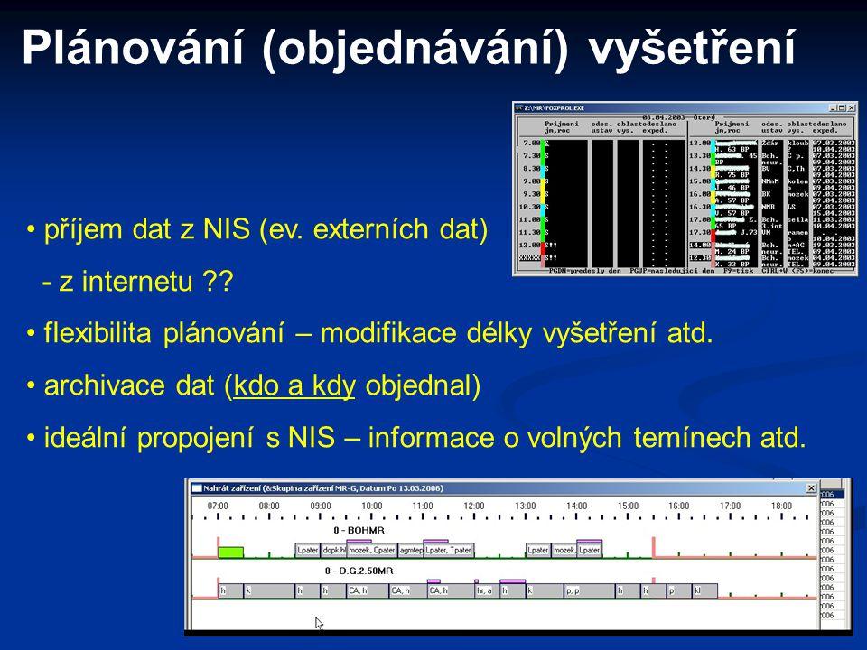 Plánování (objednávání) vyšetření příjem dat z NIS (ev. externích dat) - z internetu ?? flexibilita plánování – modifikace délky vyšetření atd. archiv